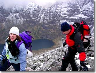 Walking in winter on the An Teallach Ridge