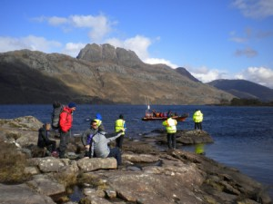 Working with Triple Echo. Loch Maree, Wester Ross.
